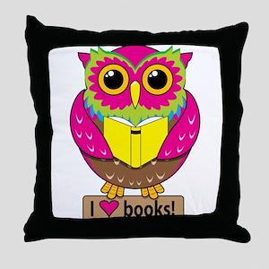 Owl Love Books Throw Pillow
