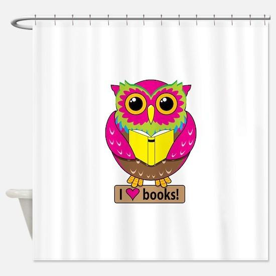 Owl Love Books Shower Curtain