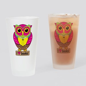 Owl Love Books Drinking Glass