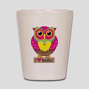 Owl Love Books Shot Glass