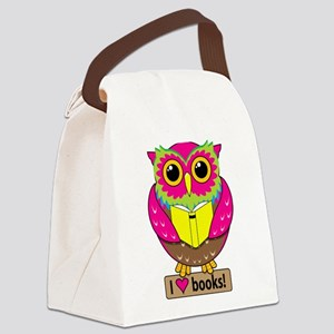 Owl Love Books Canvas Lunch Bag