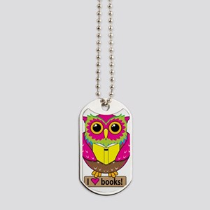 Owl Love Books Dog Tags