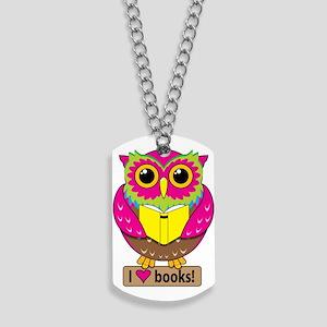 Owl Love Books Dog Tags