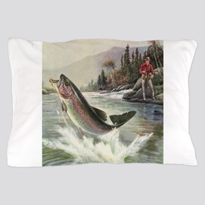 Vintage Fishing, Rainbow Trout Pillow Case