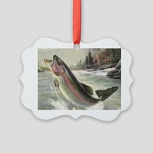 Vintage Fishing, Rainbow Trout Picture Ornament