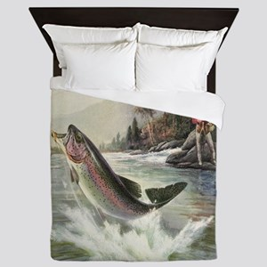 Vintage Fishing, Rainbow Trout Queen Duvet