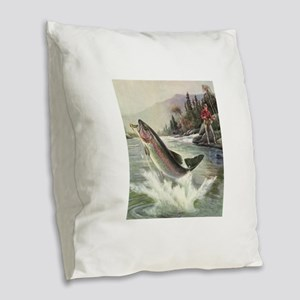 Vintage Fishing, Rainbow Trout Burlap Throw Pillow