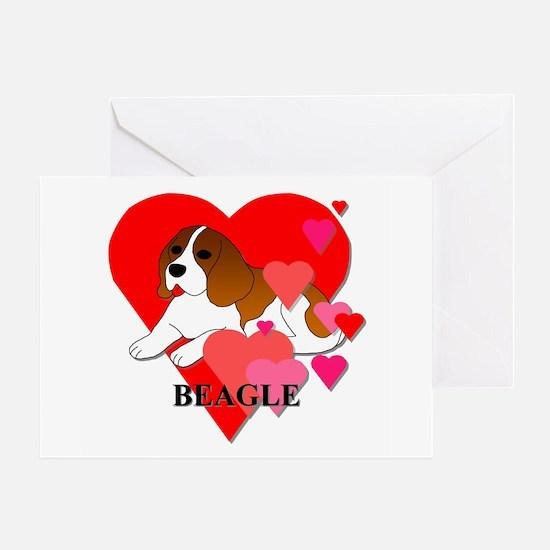 Beagle Hearts Greeting Card