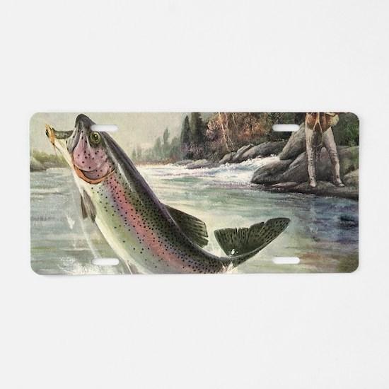 Vintage Fishing, Rainbow Tr Aluminum License Plate