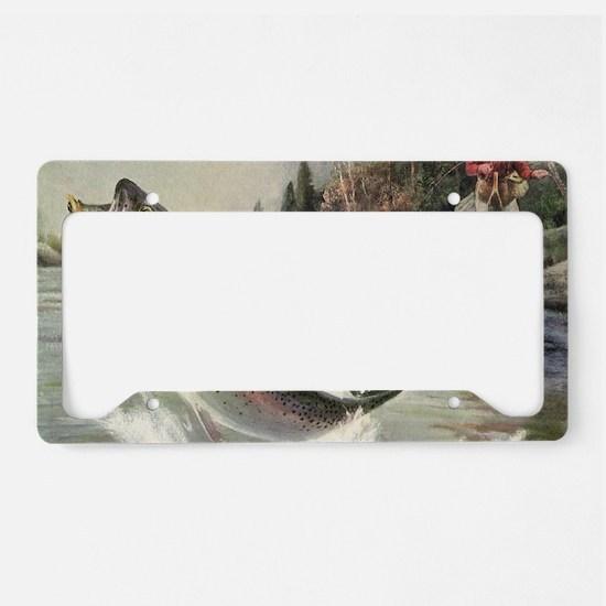 Vintage Fishing, Rainbow Trou License Plate Holder
