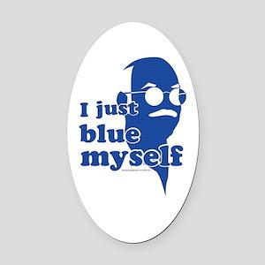 I Blue Myself Oval Car Magnet