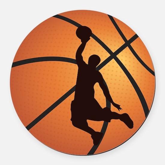 Basketball dunk Round Car Magnet