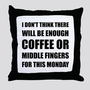 Coffee Middle Finger Throw Pillow