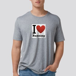 I Love Running Mens Tri-blend T-Shirt
