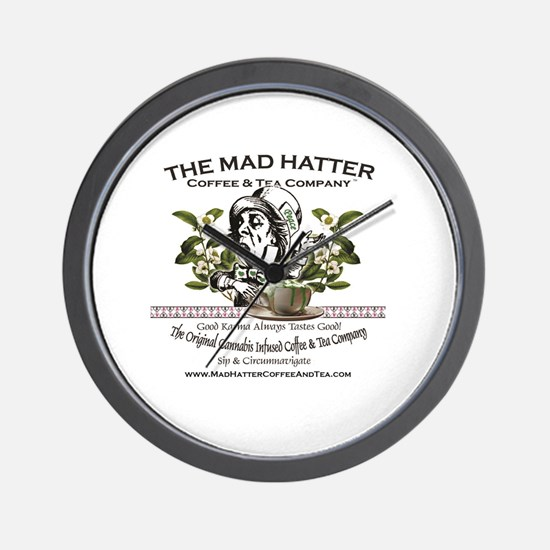 Mad Hatter Coffee and Tea logo with mes Wall Clock