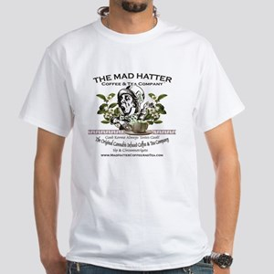 Mad Hatter Coffee and Tea logo with  White T-Shirt