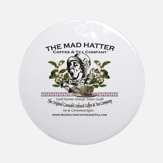 Mad Hatter Coffee and Tea logo with Round Ornament