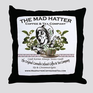 Mad Hatter Coffee and Tea logo with m Throw Pillow