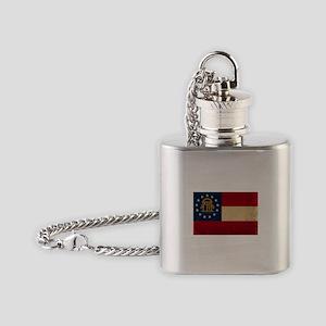 Georgia Flag VINTAGE Flask Necklace