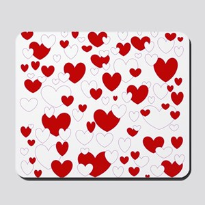 red and white hearts Mousepad
