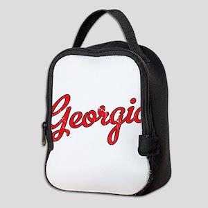 Georgia Script Red VINTAGE Neoprene Lunch Bag
