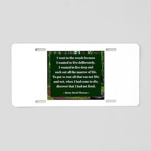 Henry David Thoreau Aluminum License Plate