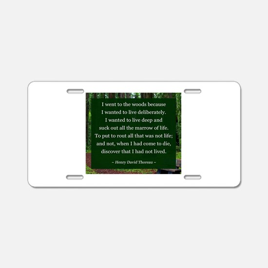 Henry David Thoreau Aluminum License Plate