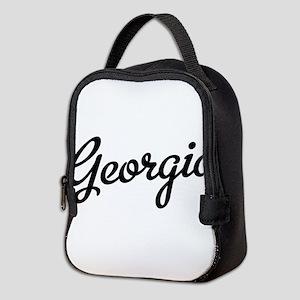 Georgia Script Black Neoprene Lunch Bag