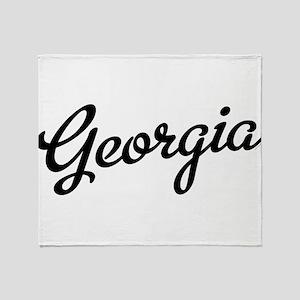 Georgia Script Black Throw Blanket
