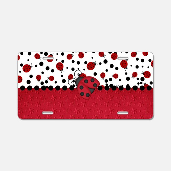 Ladybugs and Dots Aluminum License Plate