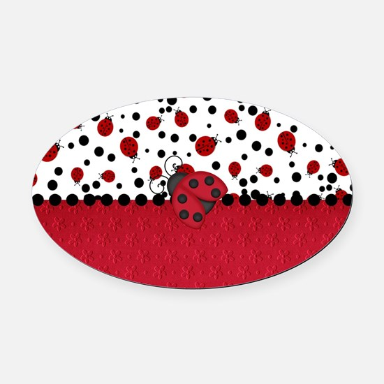 Ladybugs and Dots Oval Car Magnet