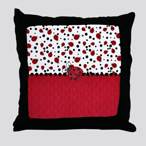 Ladybugs and Dots Throw Pillow