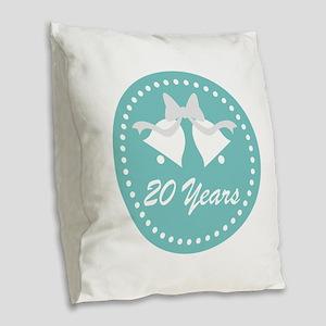 20th Anniversary Wedding Bells Burlap Throw Pillow