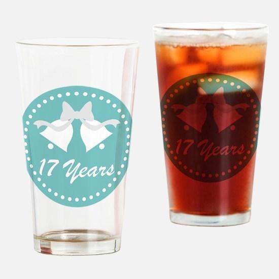 17th Anniversary Wedding Bells Drinking Glass