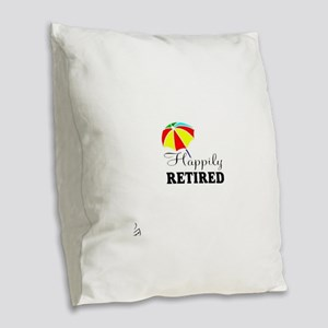 Retired Burlap Throw Pillow