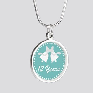 12th Anniversary Wedding Bel Silver Round Necklace