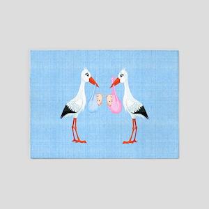 Stork Twins 5'x7'Area Rug