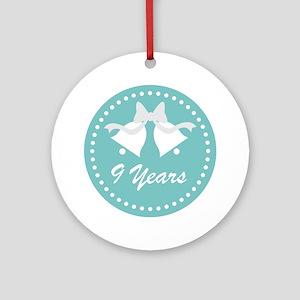 9th Anniversary Wedding Bells Ornament (Round)