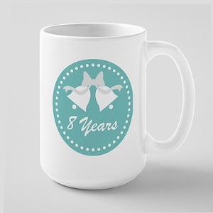 8th Anniversary Wedding Bells Large Mug