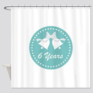 6th Anniversary Wedding Bells Shower Curtain