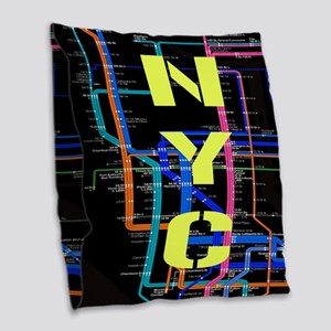 NYC subway map Burlap Throw Pillow