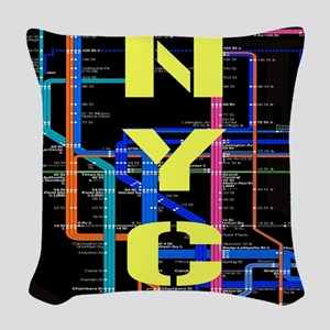NYC subway map Woven Throw Pillow
