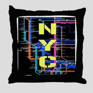 NYC subway map Throw Pillow