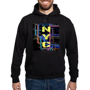 Nyc Subway Map Dark.Nyc Subway Map Hoodie Dark