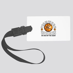 Basketball teamwork Large Luggage Tag