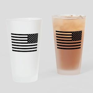 U.S. Flag: Black Reverse Drinking Glass
