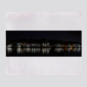 Boathouse Row Night Panoramic Throw Blanket