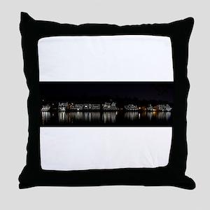 Boathouse Row Night Panoramic Throw Pillow