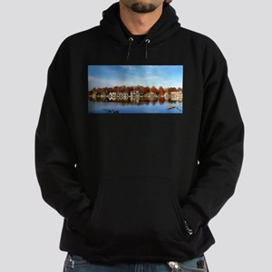 boat house row daytime Hoodie (dark)