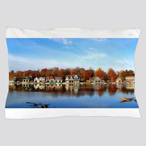boat house row daytime Pillow Case